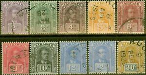 Sarawak 1922-23 set of 10 SG63-71 V.F.U