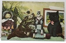 Cats Kittens Playtime With Ragdoll & Pull Horse Postcard C6