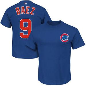Javier Baez #9 Chicago Cubs Majestic Men's Royal Blue Name & Number T-Shirt