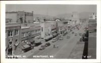 Wenatchee WA Birdseye Street Scene Real Photo Postcard