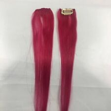 2 Hot Pink Clip in Remy Human Hair Extensions 19 inch Highlight Streaks Clipins