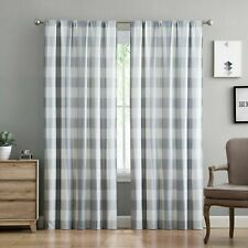 Truly Soft Everyday Gray Buffalo Check Printed Window 2 Panel Curtains - NEW!