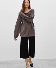 aritzia WILFRED Chapais Sweater Mohair Blend Balloon Sleeves Brown Sweater Sz XS