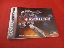 Robotech The Macross Saga Nintendo Game Boy Advance Instruction Manual Booklet