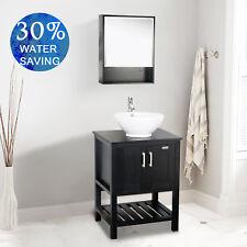 "Medicine Cabinet Mirror 24"" Bathroom Vanity W/Top Wood Black Round Ceramic Sink"