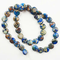 Charming blue Sea Sediment Jasper flat round shape loose bead 15.5 '' DL059