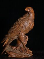 Collect noble fengshui Decor Exquisite Natural Boxwood Handmade Eagle big Statue