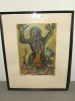 1964 Earth Goddess Framed Signed Pastel Painting by Listed Artist Suzanne Hodes