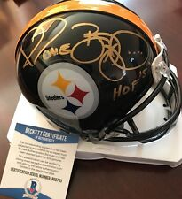 "Jerome Bettis Autographed Pittsburgh Steelers Mini Helmet w/ ""HOF 15"" BECKETT"