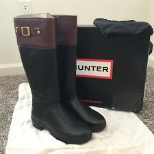 HUNTER CIRANO BOOTS 8.5 Black and Brown Leather Riding Boot