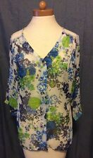 Anthropologie Fig And Flower Lace Floral Boho Top Shirt Size M Peasant