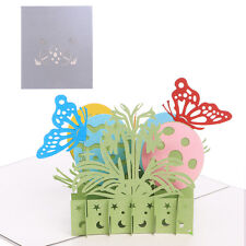Chic Easter egg butterfly Greeting Cards 3D Pop Up Handmade Happy Birthday Cards