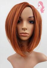 W91 Light Auburn Ginger Mix Mid Length Bob Ladies  Wig Natural Look