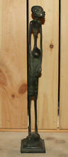 Vintage hand made African man bronze statuette