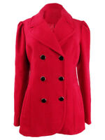 Maison Jules Women's Double-Breasted Peacoat (M, Red Zenith)