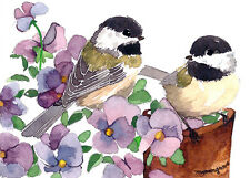 ACEO Limited Edition- Chickadees in pansies, Gift for bird lovers