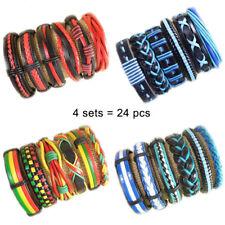 Wholesale 24pcs Multi-Color Handmade Leather Cuff Bracelet Wristband Gift  DK17