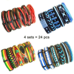 Wholesale 24pcs Multi-Color Handmade Leather Cuff Bracelet Wristband Gift  DK17