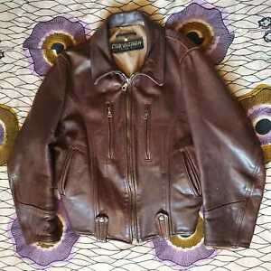 """CHARLES CHEVIGNON """"DOCKER"""" VINTAGE 1980's HIGH QUALITY MENS BROWN LEATHER JACKET"""