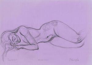 original drawing A4 110MT art samovar modern Graphite sketch female nude Signed
