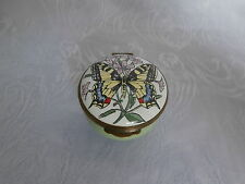 CRUMMLES SWALLOWTAIL BUTTERFLY HAND PAINTED FINE ENAMEL TRINKET BOX / PILL BOX