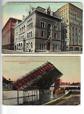 Vintage Post Cards 2- SYRACUSE - Post Office BASCULE BRIDGE Canal- Postally Used