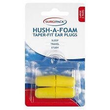 2 PAIRS LARGE Surgi Pack SURGIPACK Hush-A-Foam Taper-Fit Ear Plugs SLEEP TRAVEL
