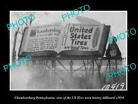 OLD HISTORIC PHOTO OF CHAMBERSBERG PENNSYLVANIA, US TIRES BILLBOARD c1930