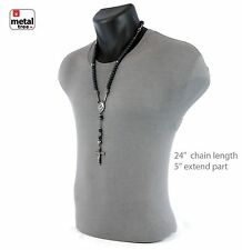 Men's Hip Hop 10 mm Matte Black Hematite Shamballa Ball Rosary Necklace HR409 HE