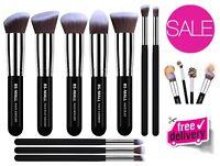 10 Piece Professional Makeup Brushes Premium Kabuki Makeup Soft Silky Brush Set