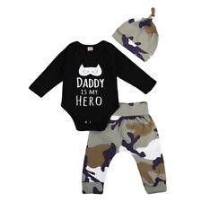 3PCS Set Newborn Baby Boy Romper Tops Camo Pants Hat Outfits Clothes Jumpsuit