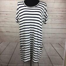 Topshop Size 10 Dress Navy Blue White Striped Jersey Dress Gold Buttons Soft!