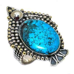 Tibetan Turquoise Gemstone Handmade 925 Sterling Silver Ring Size 7