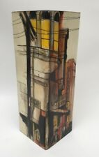 Irwin Brown Judaica Art Wood Block Painting Mid Century Abstract City Scene