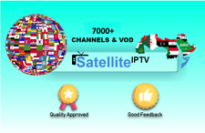 1 Year Satellite Iptv Channels & Vod subscription 7000+ Us,Uk,Europe,Arabic,Vod
