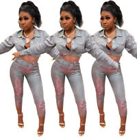 2Pcs Women Sequin Clubwear Long Sleeve Crop Top Pants Set Party Cocktail Outfits