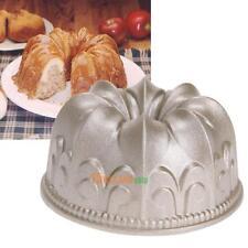 "4"" Non Stick Cake Mold Bundt Pan Cast Gold Aluminum Fluted Baking Bakeware Tool"