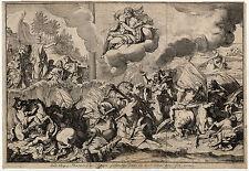 Antique Religious Print-MOSES-RED SEA-EGYPT-EXODUS-GOD-Folkema-c. 1750
