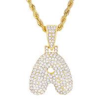 """A - Z Initial Bubble Letters Gold Plated Iced Pendant 20"""" Rope Chain Necklace"""