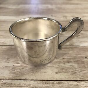 """Silverplate Baby Child's Handled Miniature Mini Cup Made In Italy 1.75"""" Tall"""