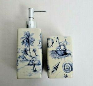 Beach Seashore Stoneware Soap Lotion Bottle Decanter & Toothbrush Holder Set