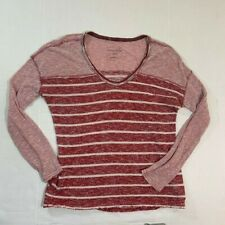 We The Free People Size S Top Red Striped BOHO Crew Neck Long Sleeve Tee Womens