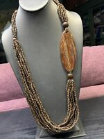 Vintage  Bohemian  Multi Strand Chocolate Brown Seed Beaded Necklace  30 Long