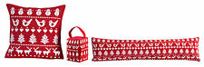 Chenille Red Robin Christmas Festive Cushion Cover, Placemat, Door Stop, Draft