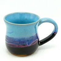 Coffee Mug Cup Studio Art Pottery 14 oz Turquoise Black Pink Drip Glaze Ceramic