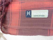 """NWOT Large, Hand Woven, Orange/Brown, Checked Scarf 100% Cotton, India, 45"""" Sq"""