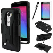 For LG Leon C40/ Power L22C Stealth Hybrid Holster Silicone Case Cover + Screen