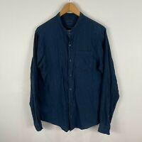 Country Road Mens Button Up Shirt Small Blue Long Sleeve V-Neck Button Front