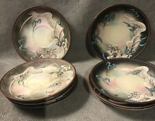 Beautiful Set Of 8~ Hand Painted Dragonware Matt Brown Saucers  ~ Japan