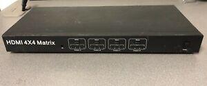 HDMI 4x4 True Matrix Digital Switcher Selector Splitter RS232 AC Power Adapter